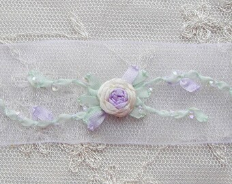 33 Inches Hand Embroidered WHITE CREAM LAVENDER Organza Sequin Flower Ribbon Trim Antique Vintage Bridal Baby Doll Christening Gown