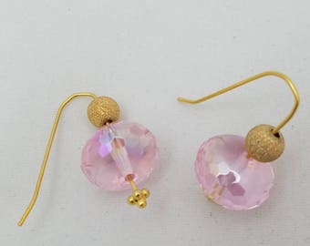 Fun and Glam Pink and Gold Crystal Earrings