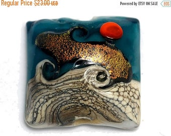 ON SALE 40% OFF Handmade Glass Lampwork Bead - Romantic Isle Waves Pillow Focal Bead 11833704