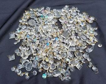 Huge Lot of Vintage Antique Newer Crystal Prisms, Destash Crystal Prism Lot, Replacement Prisms, Craft Prism Lot