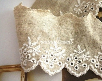 2 Yards Large Wide Beige White Country Rustic Cotton Linen Floral Flower Border Lace Ribbon Trim 6 cm 2.3 Inches