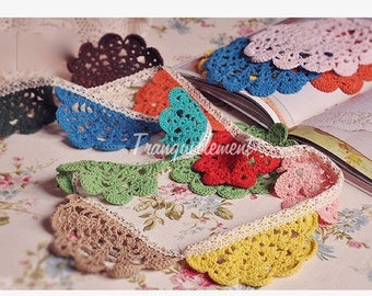 Long Beige Colorful Knitted Floral Flower Doilies Party Decoration Cotton Garland Bunting