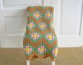 Vintage Granny Square Afghan, Vintage Blanket, Vintage Pink Green Afghan, Granny Square Blanket, Vintage Tan Throw, Vintage Crochet Afghan