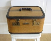 Vintage Striped Train Case, Vintage Train Case, Vintage Suitcase, Striped Suitcase, Tan Brown Train Case, Vintage Luggage