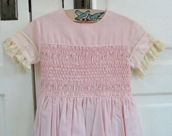 Vintage Older Girl Dress, Vintage Girl Pink Dress, Pink Smocked Dress, Vintage Girl Easter Dress, Polly Finders Size 6 Dress, Polly Finders