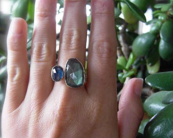 Stacked Labradorite and Sapphire Gemstone Ring, Recycled 14k Gold handmade Stacking ring
