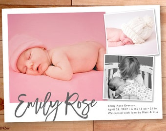 Baby Girl Announcement, Collage Birth Announcement, Multiple Photo, Modern Type, Script, Custom Baby Announcement, Typography, Photo Card