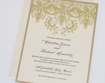 Damask Wedding Invitation | Elegant Wedding Invitation | Floral Wedding Invitation | Vintage Invitation | Gold and Ivory | Christina Sample