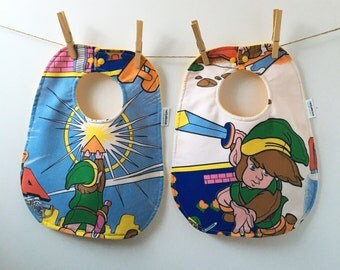 Zelda Baby Bib - Upcycled from Vintage Bed Sheets - Nintendo Baby Shower - Gamer Baby Gift