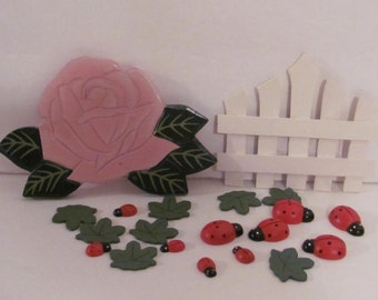Rose, Ladybugs, Leaves and Gate Wooden Cut-Outs