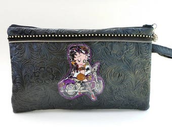 Betty Boop clutch, wristlet, rockabilly pin up bag, biker chic, electronics pouch, vegan leather, evening bag/rockabilly wedding, makeup bag