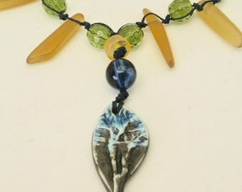 Earthy Navy Blue Ceramic Necklace, Blue Leaf Pendant, Blue Green Yellow Necklace, Long Boho Necklace, Fall Colors, Blue Art Jewelry, Gift