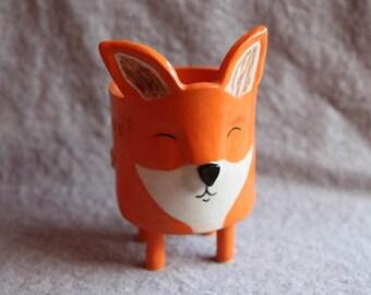 Ceramic Fox Planter in Stoneware with Orange Glaze - Made to Order