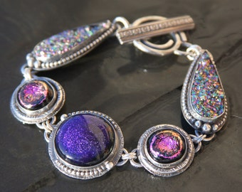 dichroic glass, titanium druzy, and sterling silver metalwork link bracelet
