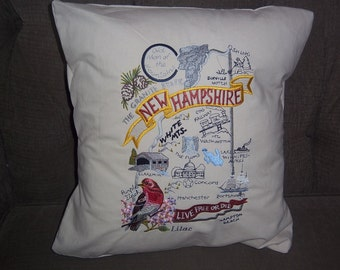 Embroidered State Map Pillow New Hampshire