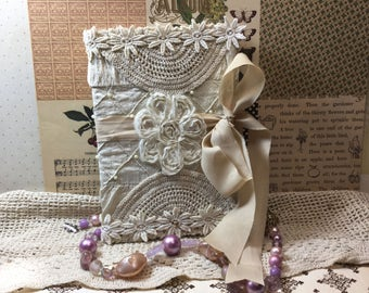 Vintage Fabric and Lace Journal Blank Diary Memory Book