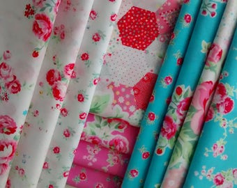 11 Fat Quarters Bundle of Lecien's FLOWER SUGAR SPRING 2015 Fabrics in Aqua, Pink and White ~ 2.75 yards total