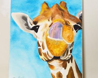 Giraffe #9 Original Painting purple tongue, gouache watercolor, large art on canvas, 16x20