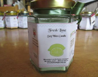 Fresh Lime Scented Soy Wax Candle 300g