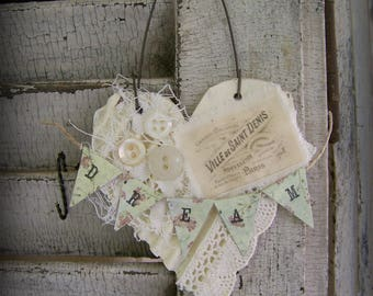 Shabby White Decor  French Heart Ornament Vintage Paris Vintage Mixed Media Cottage Style Heart Wall Hanging Antique Paper Ornament DREAM