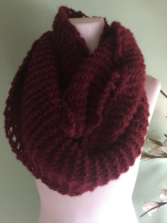 Outlander Inspired Hand Knit Infinity Fashion Scarf with Alpaca Yarn Soft and Lightweight Gogji Heather