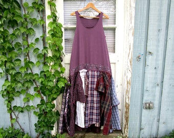 Purple Bohemian Gypsy Reconstructed Drop Waist Maxi Dress// Lg// Upcycled Hippie Festival// emmevielle