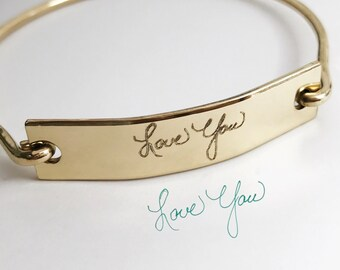 Gold Bar Signature Bracelet - Gold Fill -Actual Handwriting Jewelry - Custom Personalization