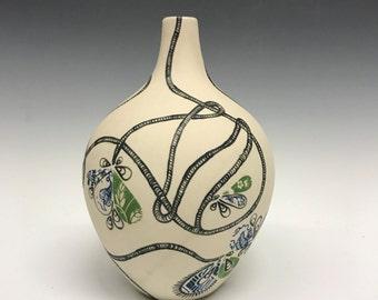 Medium Vase: Vines and Flowers