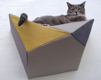 Cat shelf wall bed in mustard, grey, taupe & charcoal