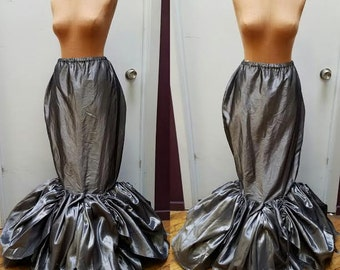 SALE- Silver Taffeta Mermaid Skirt - Fantasy Bustle Fairytale Whimsical Fit and Flare-  Size Medium/Tall Ready to Ship