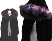vintage 70s black velvet coat fox fur trimmed hood medium