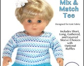 "cutie pie & me Baby Mix and Match tee doll clothes pattern for 15"" baby dolls PDF"