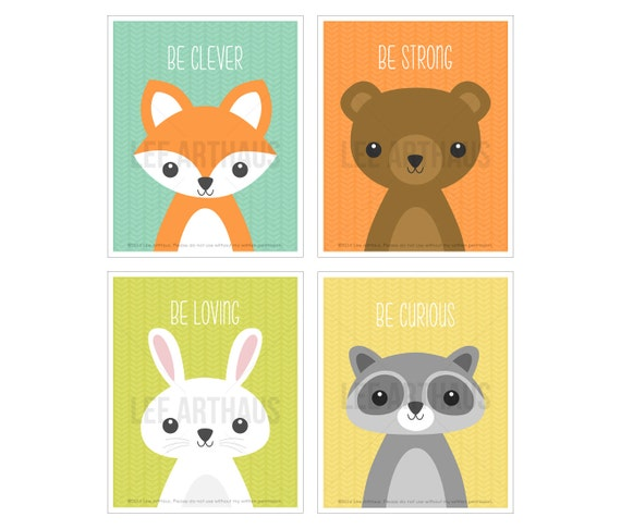 4S Nursery Art Set - Woodland Animal Print Set - Fox Wall Art - Bear Print - Raccoon Drawing - Rabbit Poster - Modern Art for Kids Room