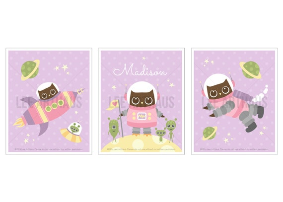20S Owl Nursery Print - Girl Astronaut Owl Prints with Custom Name - Set of 3 Prints - Custon Name Baby Girl Nursery Wall Art - Space Art