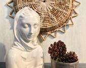 vintage white ceramic Mary bust - Holland Mold minimalist Madonna head statue
