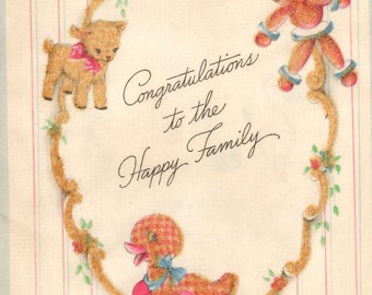 Vintage Greeting Card - Happy Family - Baby