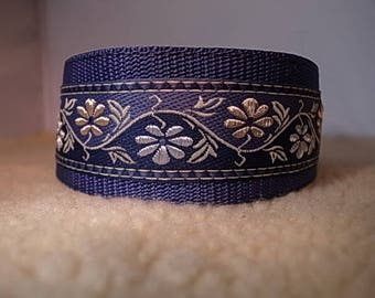 "2"" Wide Denim Flower House/Martingale Collar"