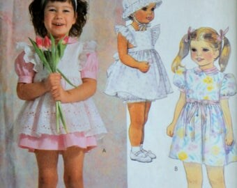 Vintage 80's easy McCall 2413 Sewing Pattern, Toddler/Girl Pinafore Or Sundress, Panties And Hat, Size 2-3-4, Uncut,  1980's Kids Fashion