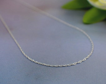 "1mm sterling silver thin double rope chain 16 18 20 24 30 inch "" finished necklace chain with clasp delicate width 41 to 76cm lengths single"