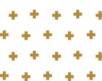 Plus Print Gold - Double Gauze - Sparkle Metallic G528-GOLD  -  Riley Blake Fabrics - You Select the Size