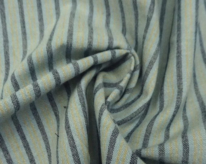 Striped Chambray in Light Blue & Gold - Cotton Chambray Fabric