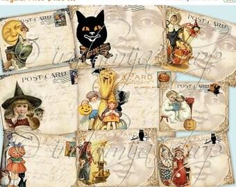 SALE TRICK or TREAT Postcards Collage Digital Images -printable download file-