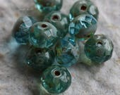BREATHE No. 5 .. NEW 10 Premium Picasso Czech Glass Rondelle Beads 5x7mm (5741-10)