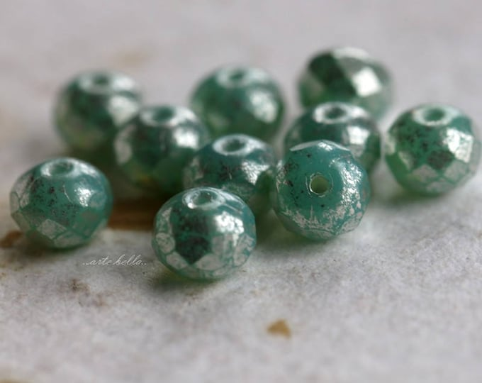 SILVERED SEAFOAM No. 2 .. New 10 Picasso Czech Rondelle Glass Beads 5x7mm (5743-10)