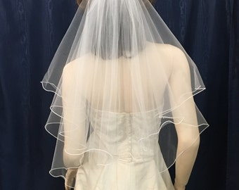 2 tier circle cut Elbow Length Ruffled Edge bridal veil
