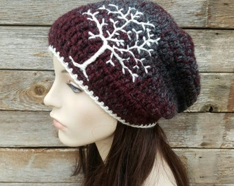 Slouchy Hat with Tree of Life, Slouchy Beanie with Tree, Dread Hat, Tam Hat, Slouch Hat, Maroon, Burgundy, Gray, Grey Charcoal MADE TO ORDER
