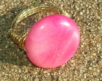 Dyed Pink Bead Wire Wrapped Ring