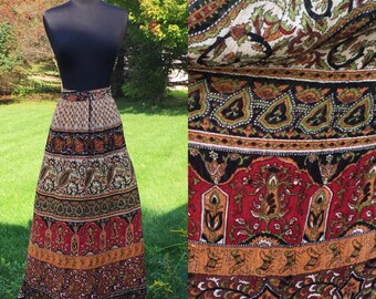 Vintage 70s Bohemian Hippie Windsong Skirt Draw String Waist One Size Fit All