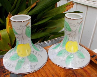 Set Of Vcagco Made In Japan Candle Holders /  Yellow Lemon Pink Cherries  Hand Painted