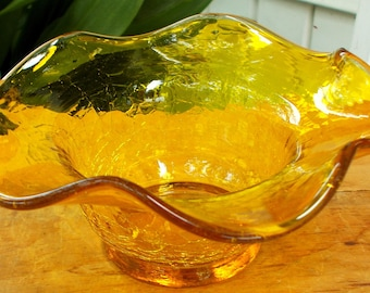 Yellow Topaz Crackle Art Glass Free Form Vase  / Mid Century Modern Home Decor / Free Form Crackle Art Glass